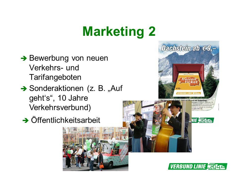 Marketing 2 Bewerbung von neuen Verkehrs- und Tarifangeboten Sonderaktionen (z. B. Auf gehts, 10 Jahre Verkehrsverbund) Öffentlichkeitsarbeit