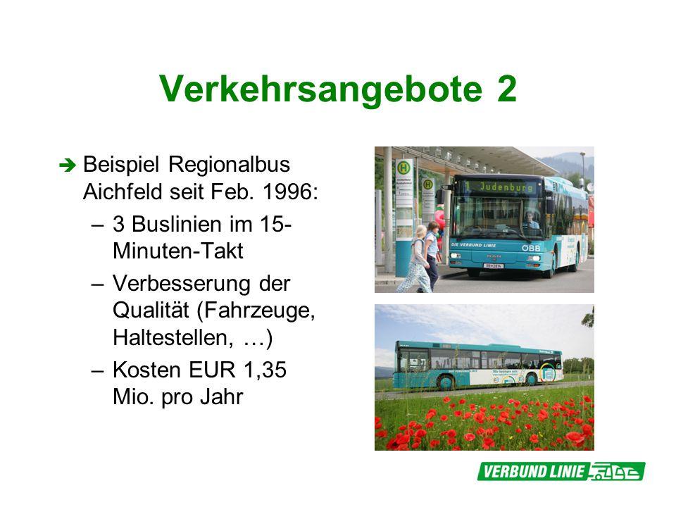 Verkehrsangebote 2 Beispiel Regionalbus Aichfeld seit Feb. 1996: –3 Buslinien im 15- Minuten-Takt –Verbesserung der Qualität (Fahrzeuge, Haltestellen,
