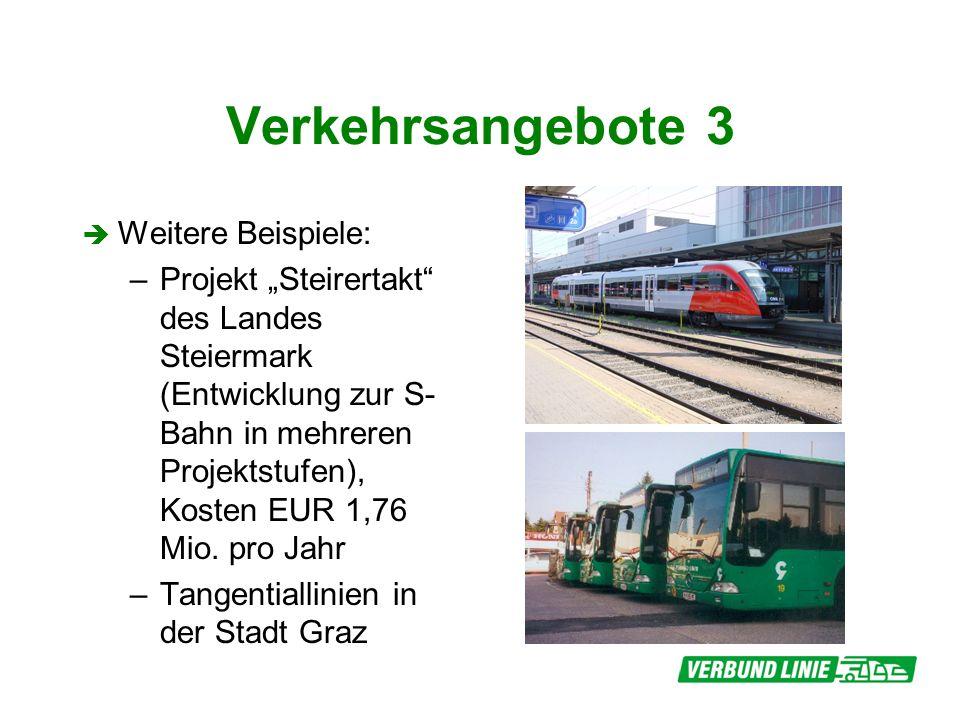 Verkehrsangebote 3 Weitere Beispiele: –Projekt Steirertakt des Landes Steiermark (Entwicklung zur S- Bahn in mehreren Projektstufen), Kosten EUR 1,76 Mio.