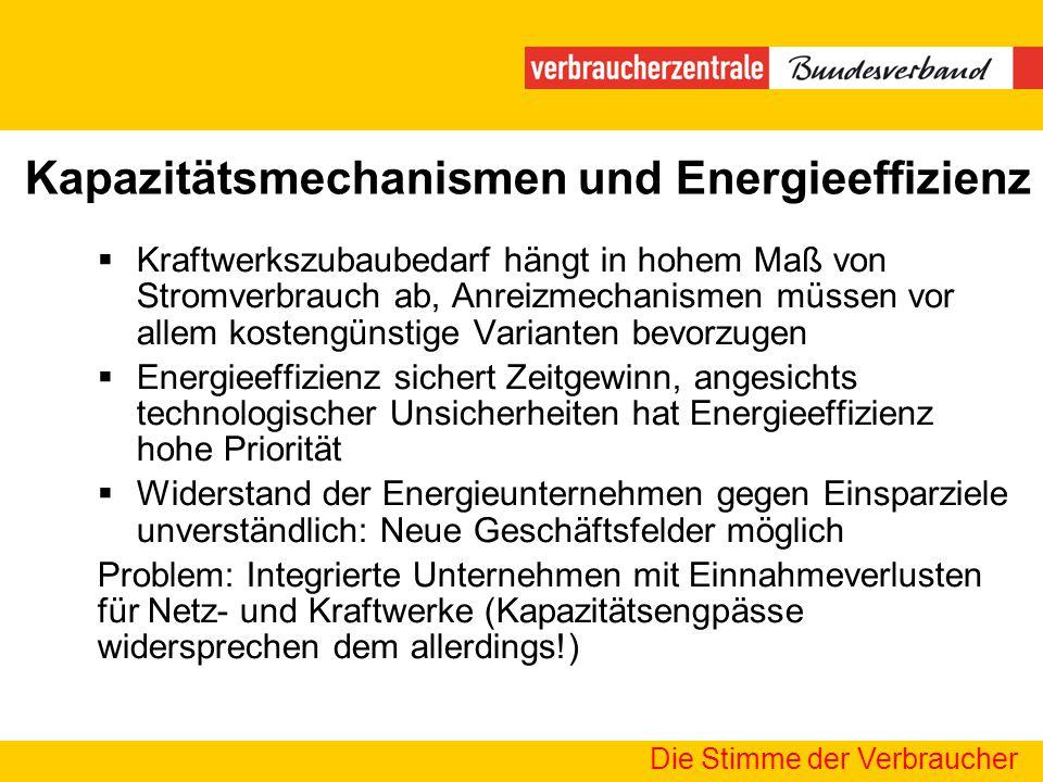 Kapazitätsmechanismen und Energieeffizienz Die Stimme der Verbraucher Kraftwerkszubaubedarf hängt in hohem Maß von Stromverbrauch ab, Anreizmechanisme