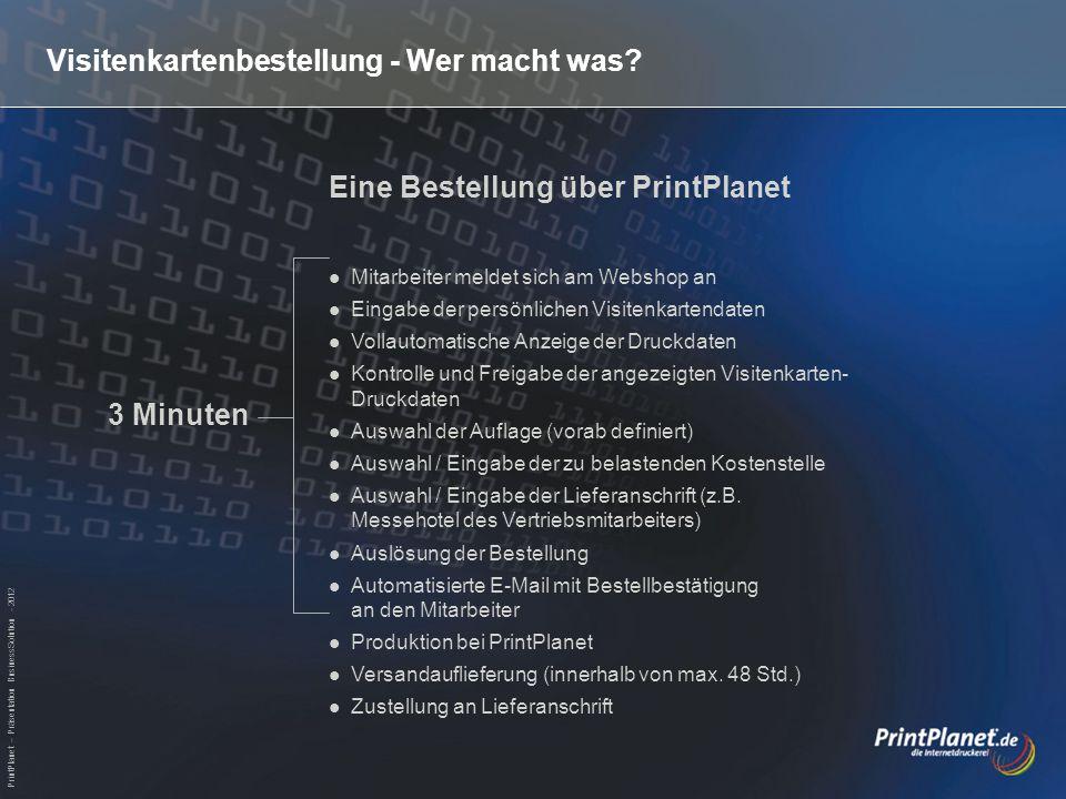 PrintPlanet – Präsentation BusinessSolution - 2012 Visitenkartenbestellung - Wer macht was? Eine Bestellung über PrintPlanet Mitarbeiter meldet sich a