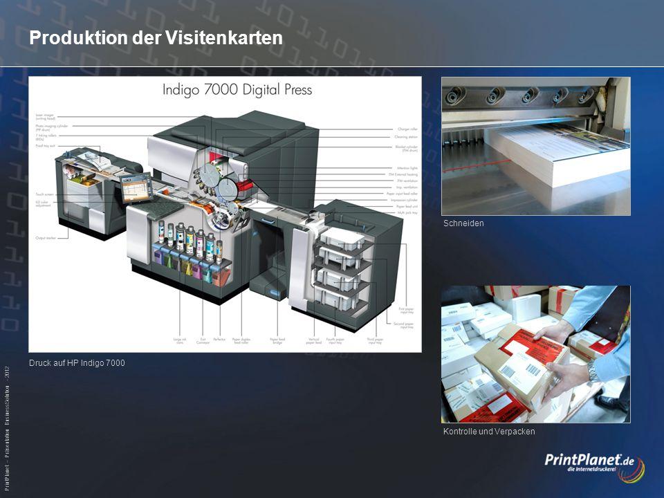 PrintPlanet – Präsentation BusinessSolution - 2012 Produktion der Visitenkarten Druck auf HP Indigo 7000 Schneiden Kontrolle und Verpacken
