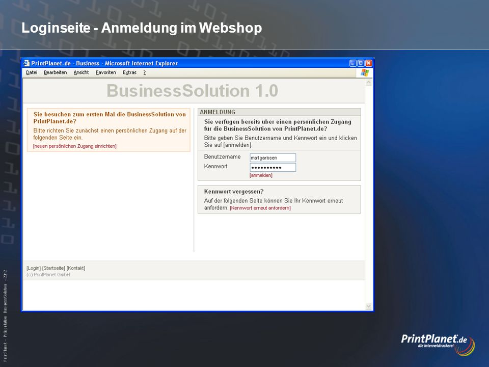 PrintPlanet – Präsentation BusinessSolution - 2012 Warenkorb - Überprüfung Auflage, Preis