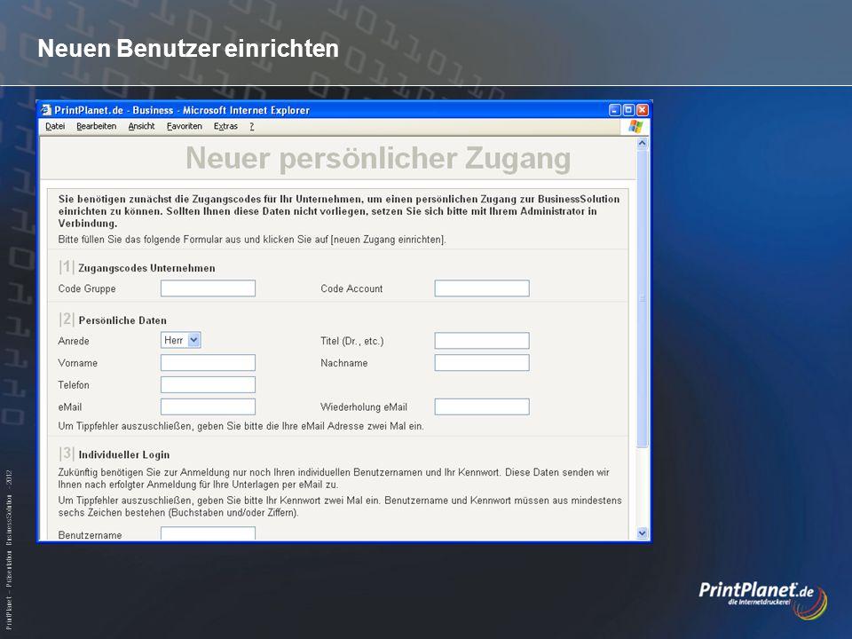 PrintPlanet – Präsentation BusinessSolution - 2012 Startseite - Auswahl der Produktgruppe