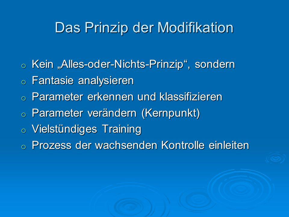 Das Prinzip der Modifikation o Kein Alles-oder-Nichts-Prinzip, sondern o Fantasie analysieren o Parameter erkennen und klassifizieren o Parameter verä