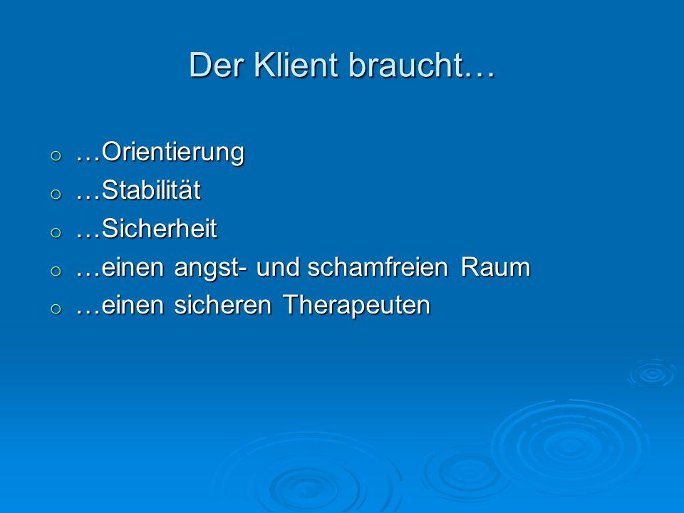 Der Klient braucht… o …Orientierung o …Stabilität o …Sicherheit o …einen angst- und schamfreien Raum o …einen sicheren Therapeuten