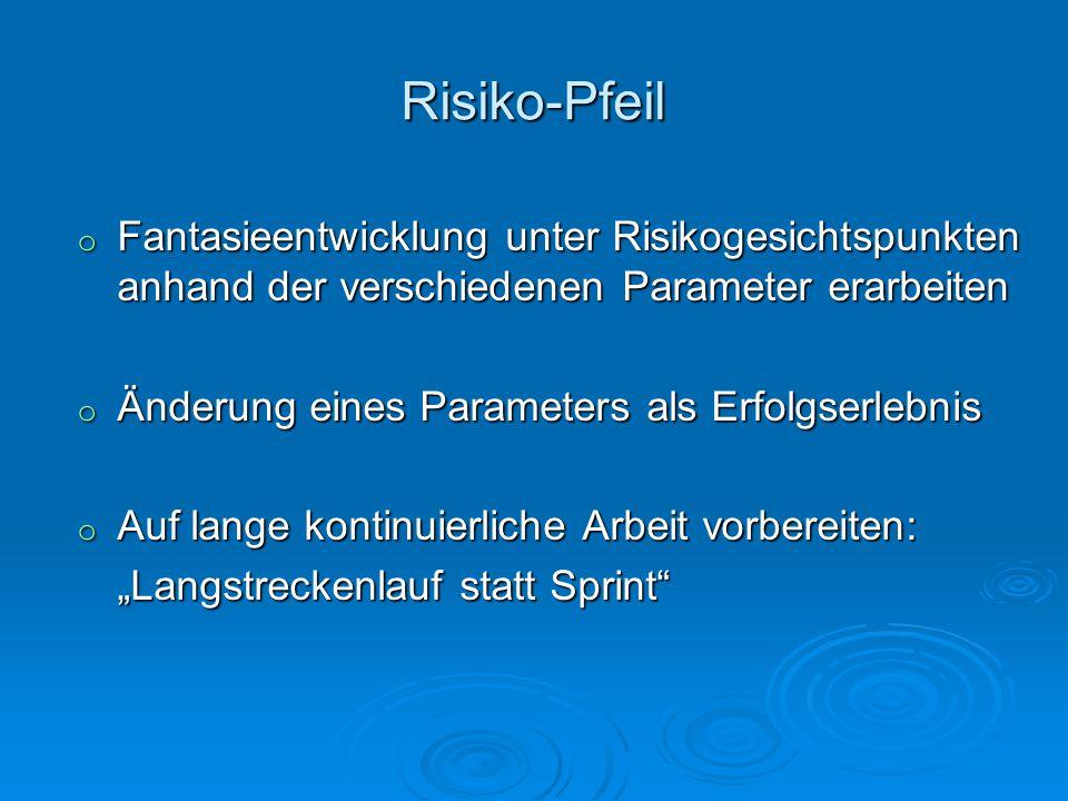 Risiko-Pfeil o Fantasieentwicklung unter Risikogesichtspunkten anhand der verschiedenen Parameter erarbeiten o Änderung eines Parameters als Erfolgser