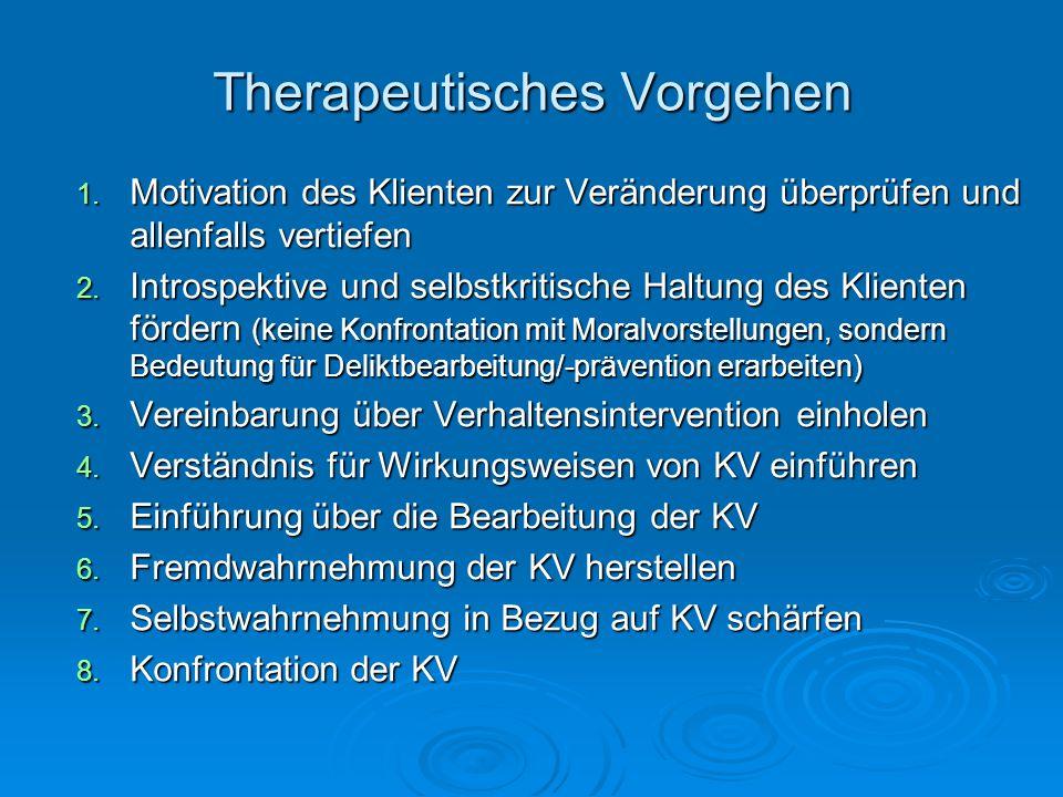 Therapeutisches Vorgehen 1. Motivation des Klienten zur Veränderung überprüfen und allenfalls vertiefen 2. Introspektive und selbstkritische Haltung d