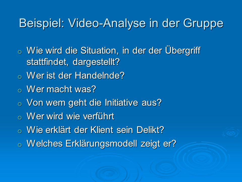 Beispiel: Video-Analyse in der Gruppe o Wie wird die Situation, in der der Übergriff stattfindet, dargestellt? o Wer ist der Handelnde? o Wer macht wa