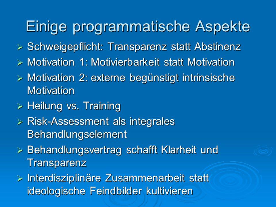 Einige programmatische Aspekte Schweigepflicht: Transparenz statt Abstinenz Schweigepflicht: Transparenz statt Abstinenz Motivation 1: Motivierbarkeit