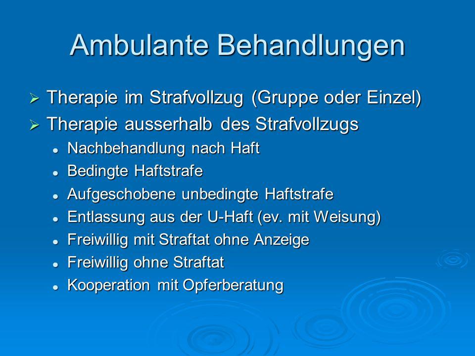 Ambulante Behandlungen Therapie im Strafvollzug (Gruppe oder Einzel) Therapie im Strafvollzug (Gruppe oder Einzel) Therapie ausserhalb des Strafvollzu