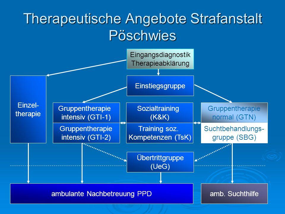 Therapeutische Angebote Strafanstalt Pöschwies Eingangsdiagnostik Therapieabklärung Einzel- therapie Einstiegsgruppe Gruppentherapie intensiv (GTI-1)