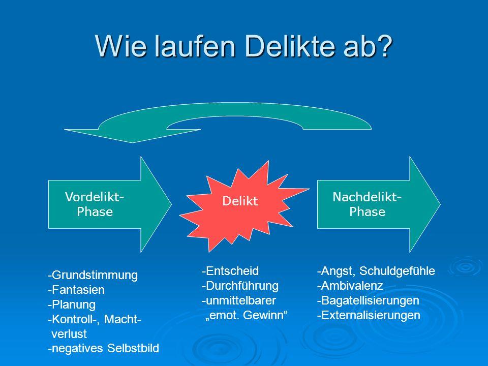 Wie laufen Delikte ab? Delikt Vordelikt- Phase Nachdelikt- Phase -Grundstimmung -Fantasien -Planung -Kontroll-, Macht- verlust -negatives Selbstbild -