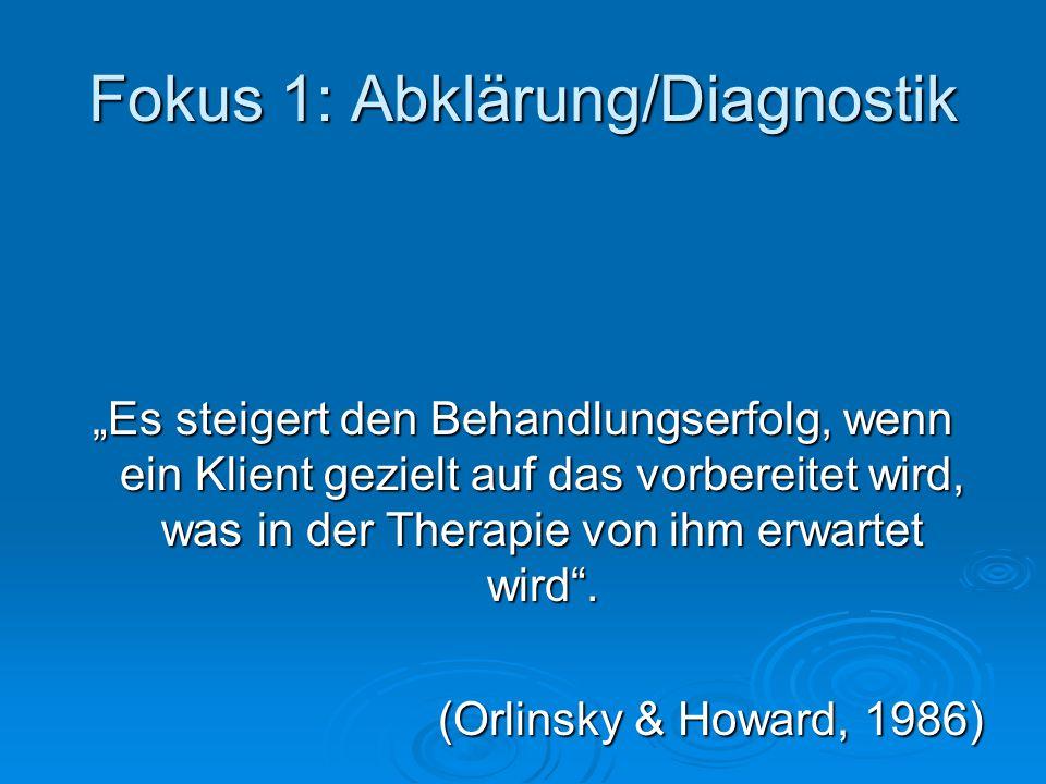 Fokus 1: Abklärung/Diagnostik Es steigert den Behandlungserfolg, wenn ein Klient gezielt auf das vorbereitet wird, was in der Therapie von ihm erwarte