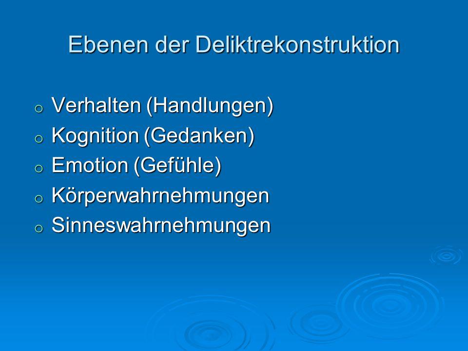 Ebenen der Deliktrekonstruktion o Verhalten (Handlungen) o Kognition (Gedanken) o Emotion (Gefühle) o Körperwahrnehmungen o Sinneswahrnehmungen