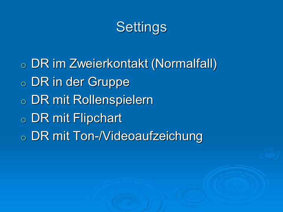 Settings o DR im Zweierkontakt (Normalfall) o DR in der Gruppe o DR mit Rollenspielern o DR mit Flipchart o DR mit Ton-/Videoaufzeichung