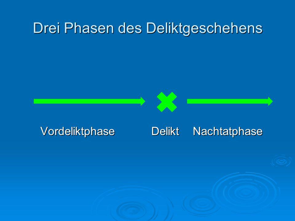 Drei Phasen des Deliktgeschehens Vordeliktphase Delikt Nachtatphase Vordeliktphase Delikt Nachtatphase