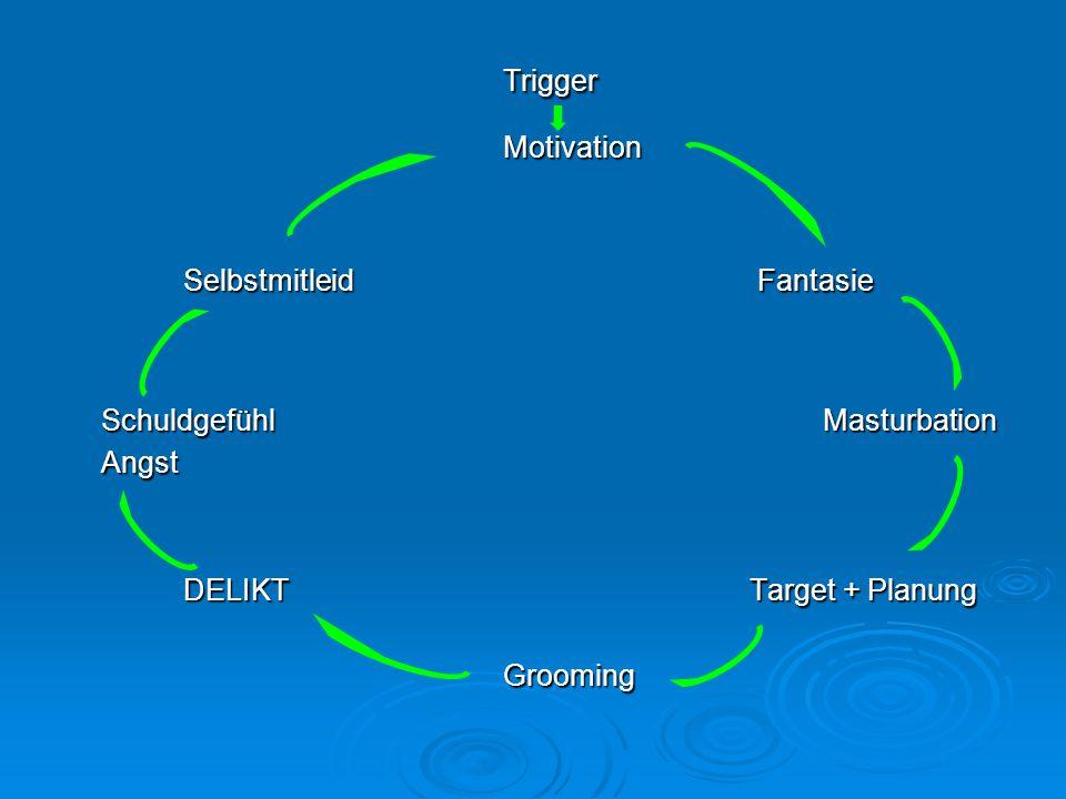 TriggerMotivation Selbstmitleid Fantasie SchuldgefühlMasturbation SchuldgefühlMasturbation Angst Angst DELIKT Target + Planung DELIKT Target + Planung