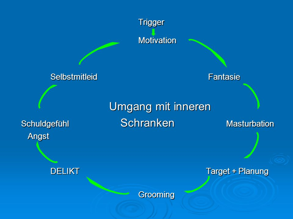 TriggerMotivation Selbstmitleid Fantasie Umgang mit inneren Schuldgefühl Schranken Masturbation Angst Angst DELIKT Target + Planung DELIKT Target + Pl