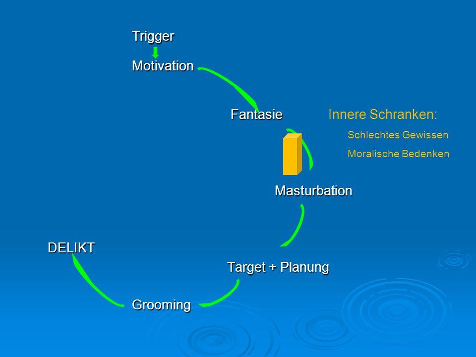 TriggerMotivation Fantasie Fantasie Innere Schranken: Schlechtes Gewissen Moralische BedenkenMasturbation DELIKT DELIKT Target + Planung Target + Plan