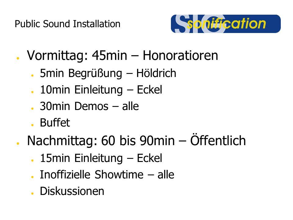 Public Sound Installation Öffentlichkeitswirksame Demos: Medizin: live EEG (mit Hrn.