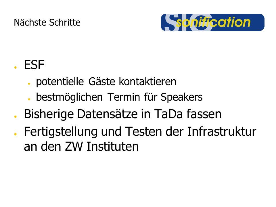 Nächste Schritte ESF potentielle Gäste kontaktieren bestmöglichen Termin für Speakers Bisherige Datensätze in TaDa fassen Fertigstellung und Testen der Infrastruktur an den ZW Instituten