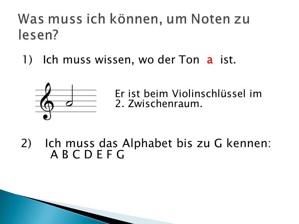 1) Ich muss wissen, wo der Ton a ist. Er ist beim Violinschlüssel im 2. Zwischenraum. 2)Ich muss das Alphabet bis zu G kennen: A B C D E F G