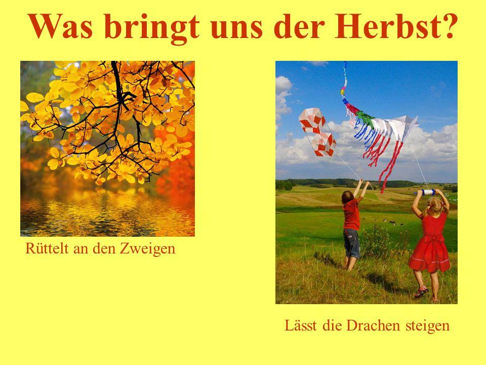 Was bringt uns der Herbst? Lässt die Drachen steigen Rüttelt an den Zweigen