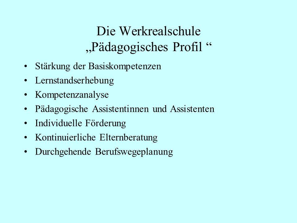 Die Werkrealschule Pädagogisches Profil Stärkung der Basiskompetenzen Lernstandserhebung Kompetenzanalyse Pädagogische Assistentinnen und Assistenten