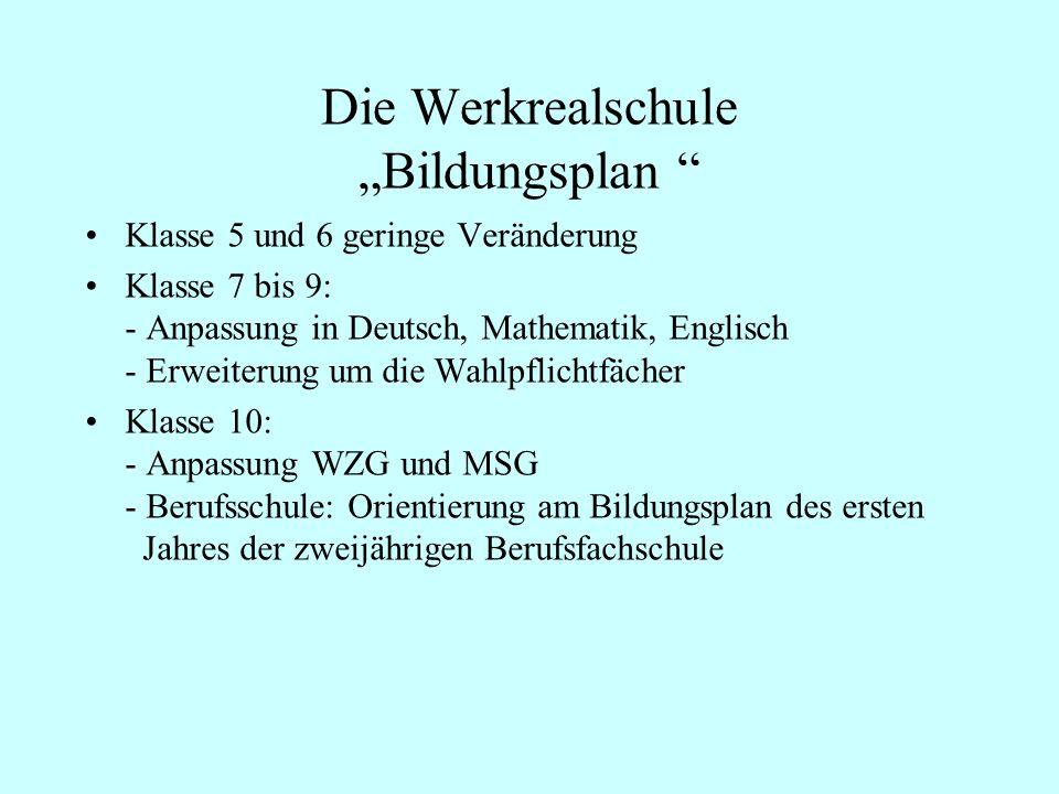 Die Werkrealschule Bildungsplan Klasse 5 und 6 geringe Veränderung Klasse 7 bis 9: - Anpassung in Deutsch, Mathematik, Englisch - Erweiterung um die W