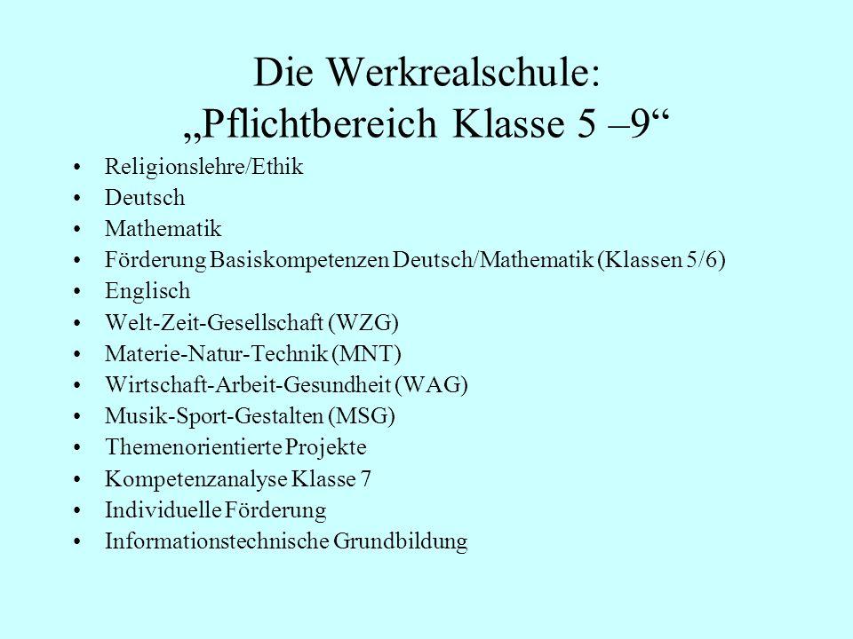 Die Werkrealschule: Pflichtbereich Klasse 5 –9 Religionslehre/Ethik Deutsch Mathematik Förderung Basiskompetenzen Deutsch/Mathematik (Klassen 5/6) Eng