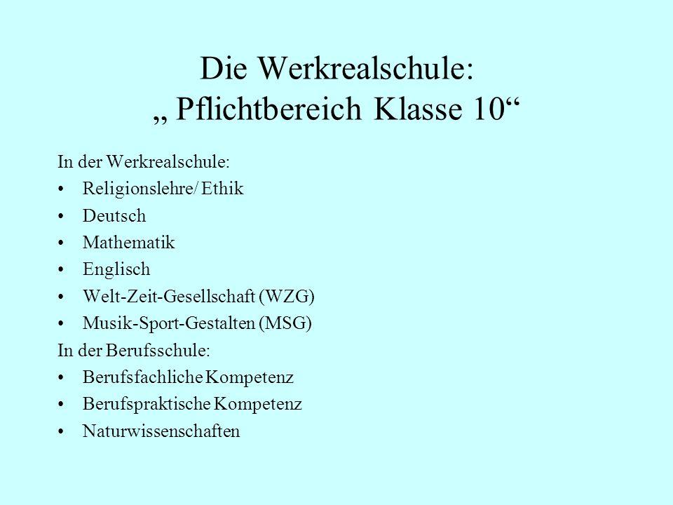 Die Werkrealschule: Pflichtbereich Klasse 10 In der Werkrealschule: Religionslehre/ Ethik Deutsch Mathematik Englisch Welt-Zeit-Gesellschaft (WZG) Mus