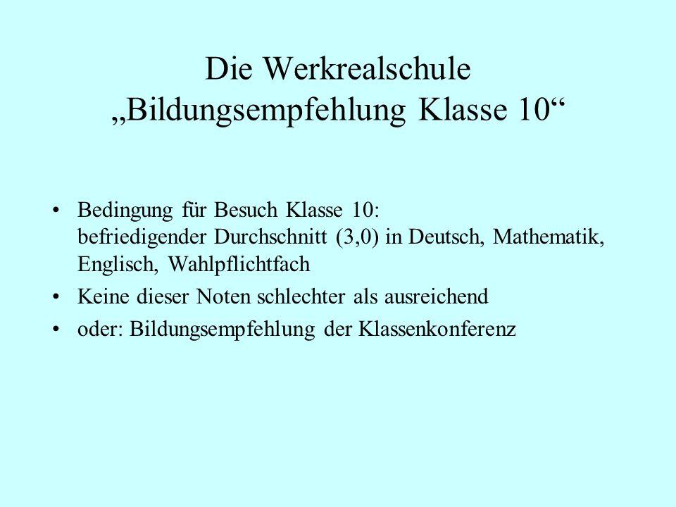 Die Werkrealschule Bildungsempfehlung Klasse 10 Bedingung für Besuch Klasse 10: befriedigender Durchschnitt (3,0) in Deutsch, Mathematik, Englisch, Wa