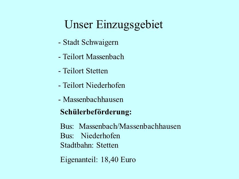 Unser Einzugsgebiet - Stadt Schwaigern - Teilort Massenbach - Teilort Stetten - Teilort Niederhofen - Massenbachhausen Schülerbeförderung: Bus: Massen
