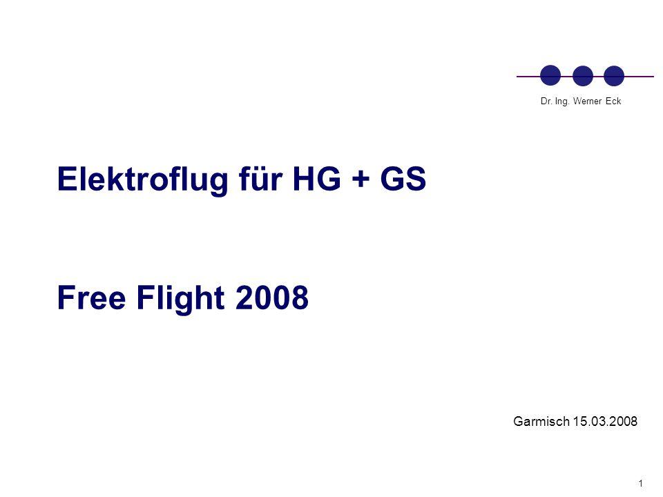 1 Dr. Ing. Werner Eck Elektroflug für HG + GS Free Flight 2008 Garmisch 15.03.2008