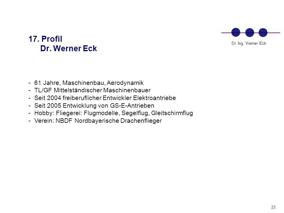 23 Dr.Ing. Werner Eck 17. Profil Dr.