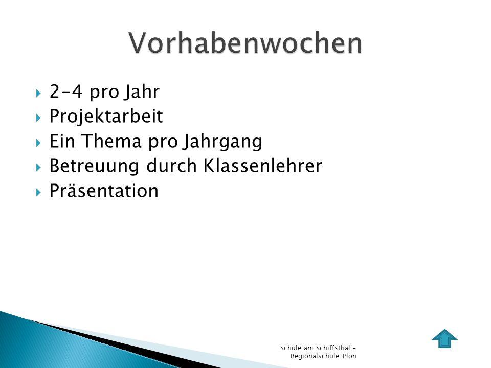 2-4 pro Jahr Projektarbeit Ein Thema pro Jahrgang Betreuung durch Klassenlehrer Präsentation Schule am Schiffsthal - Regionalschule Plön