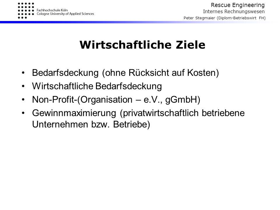 Rescue Engineering Internes Rechnungswesen Peter Stegmaier (Diplom-Betriebswirt FH) Wirtschaftliche Ziele Bedarfsdeckung (ohne Rücksicht auf Kosten) W