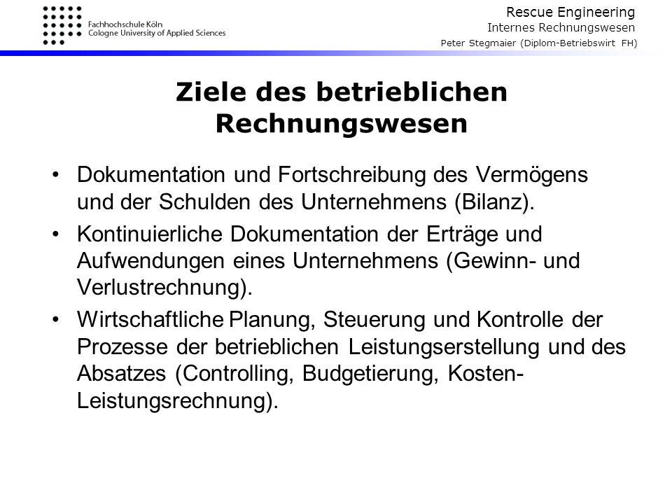Rescue Engineering Internes Rechnungswesen Peter Stegmaier (Diplom-Betriebswirt FH) Ziele des betrieblichen Rechnungswesen Dokumentation und Fortschre