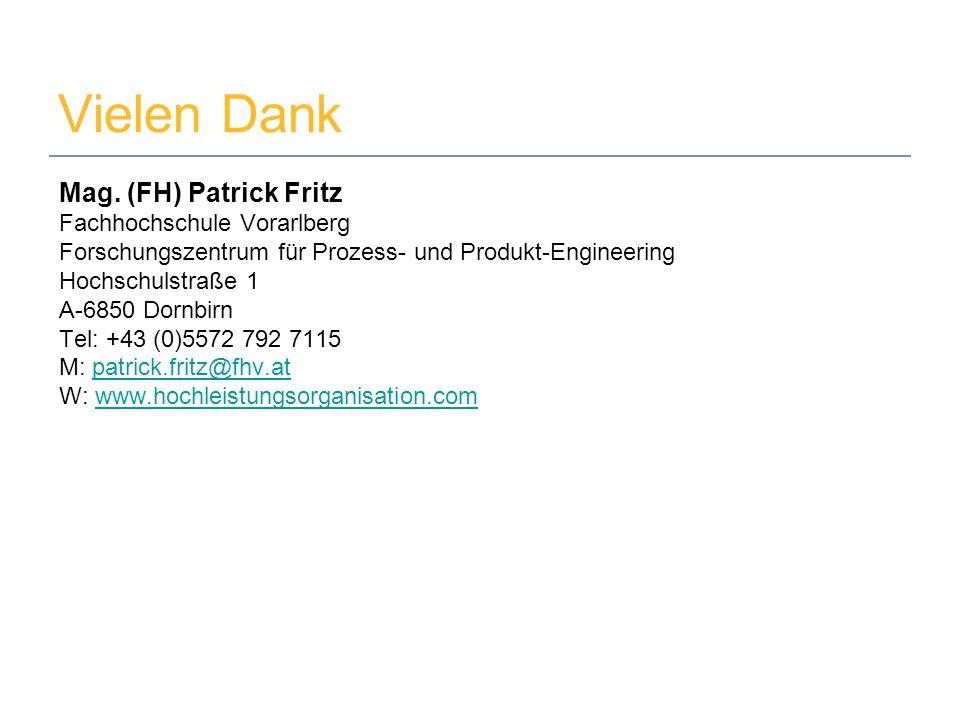 29. Mai 2014www.hochleistungsorganisation.com10 Vielen Dank Mag. (FH) Patrick Fritz Fachhochschule Vorarlberg Forschungszentrum für Prozess- und Produ