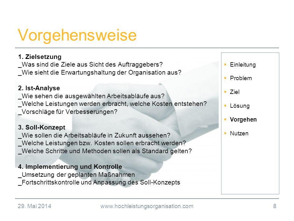 29. Mai 2014www.hochleistungsorganisation.com8 Vorgehensweise Einleitung Problem Ziel Lösung Vorgehen Nutzen 1. Zielsetzung _Was sind die Ziele aus Si