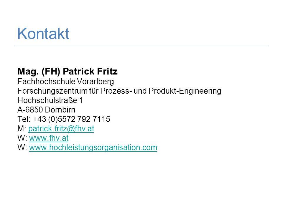 29.05.2014Mag. (FH) Patrick Fritz9 Kontakt Mag. (FH) Patrick Fritz Fachhochschule Vorarlberg Forschungszentrum für Prozess- und Produkt-Engineering Ho