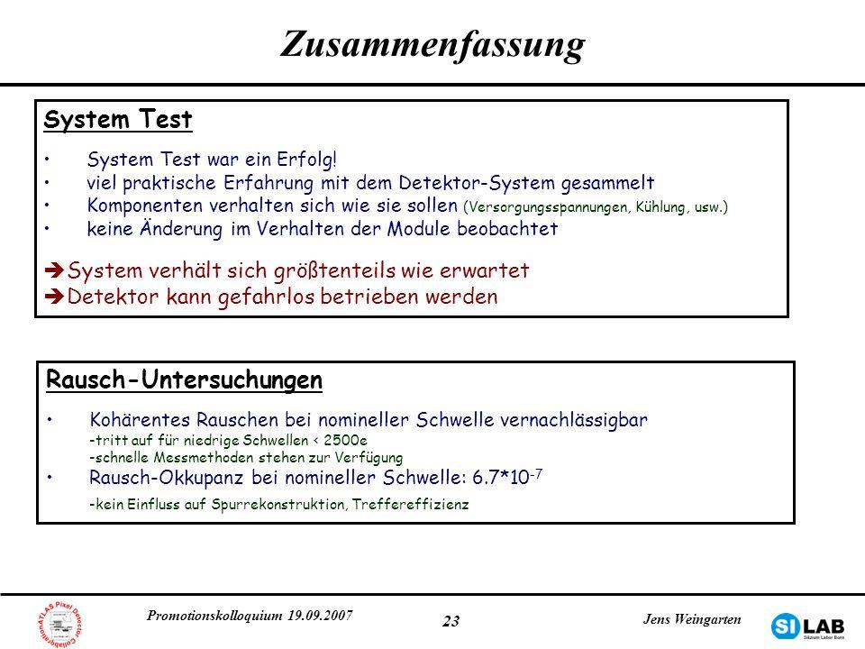 Promotionskolloquium 19.09.2007 Jens Weingarten 23 Zusammenfassung System Test System Test war ein Erfolg! viel praktische Erfahrung mit dem Detektor-