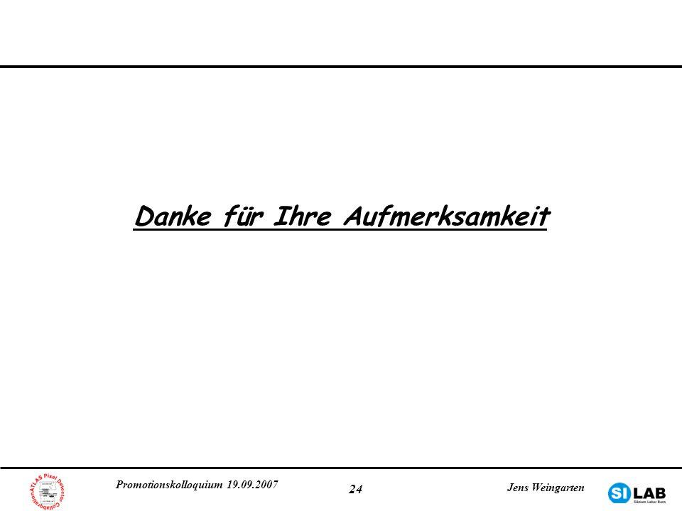 Promotionskolloquium 19.09.2007 Jens Weingarten 24 Danke für Ihre Aufmerksamkeit