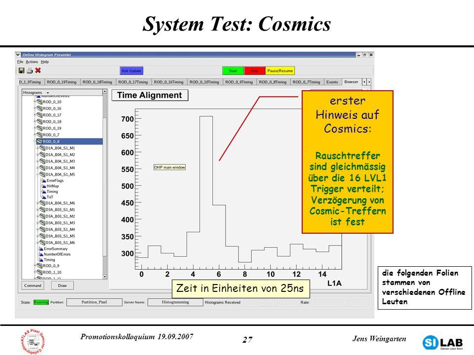 Promotionskolloquium 19.09.2007 Jens Weingarten 27 System Test: Cosmics erster Hinweis auf Cosmics: Rauschtreffer sind gleichmässig über die 16 LVL1 T