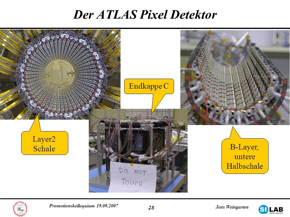 Promotionskolloquium 19.09.2007 Jens Weingarten 28 Der ATLAS Pixel Detektor Layer2 Schale B-Layer, untere Halbschale Endkappe C
