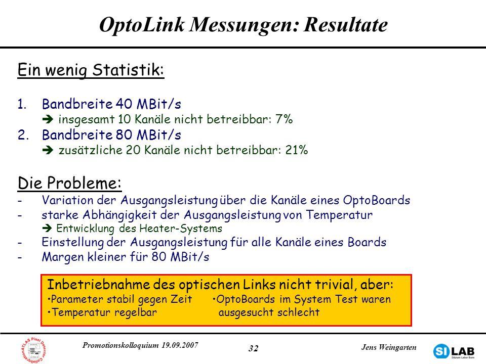 Promotionskolloquium 19.09.2007 Jens Weingarten 32 OptoLink Messungen: Resultate Ein wenig Statistik: 1.Bandbreite 40 MBit/s insgesamt 10 Kanäle nicht