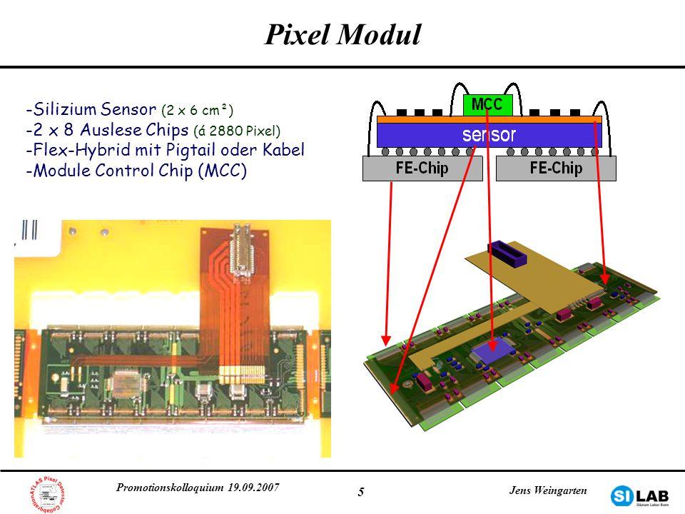 Promotionskolloquium 19.09.2007 Jens Weingarten 5 Pixel Modul -Silizium Sensor (2 x 6 cm²) -2 x 8 Auslese Chips (á 2880 Pixel) -Flex-Hybrid mit Pigtai