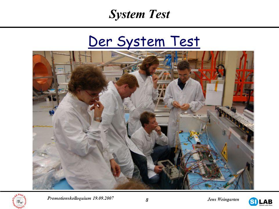 Promotionskolloquium 19.09.2007 Jens Weingarten 8 System Test Der System Test