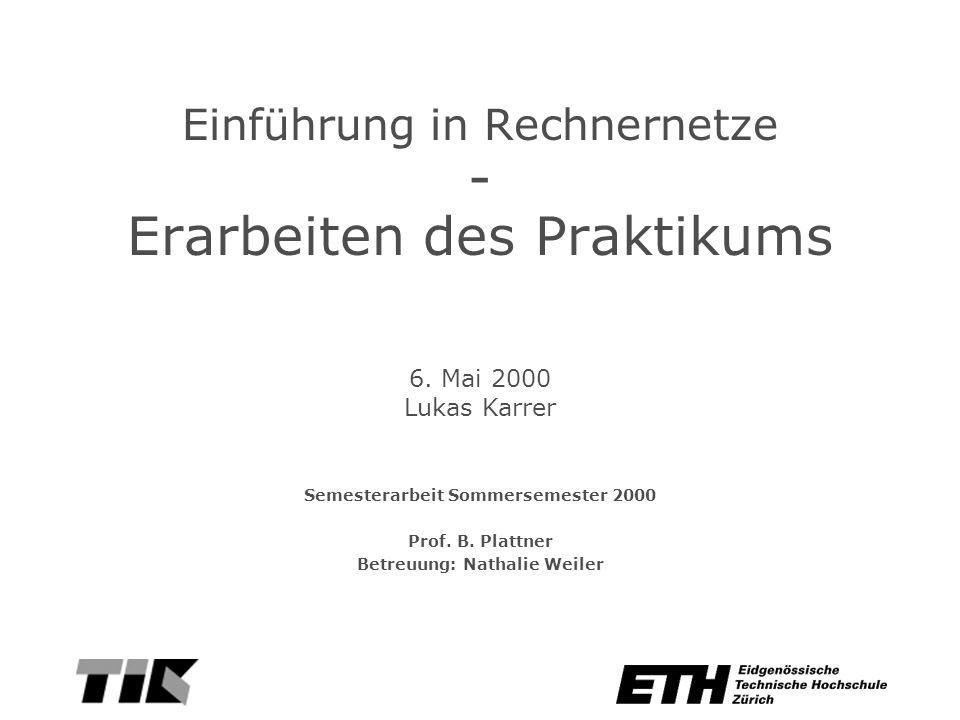 Einführung in Rechnernetze - Erarbeiten des Praktikums Semesterarbeit Sommersemester 2000 Prof.